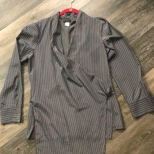 Silky Grey striped wrap blouse.  Size 12